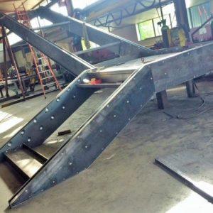 Réalisation dans notre atelier acier d'un escalier quart tournant d'une des cours du Grand Hôtel Dieu de Lyon